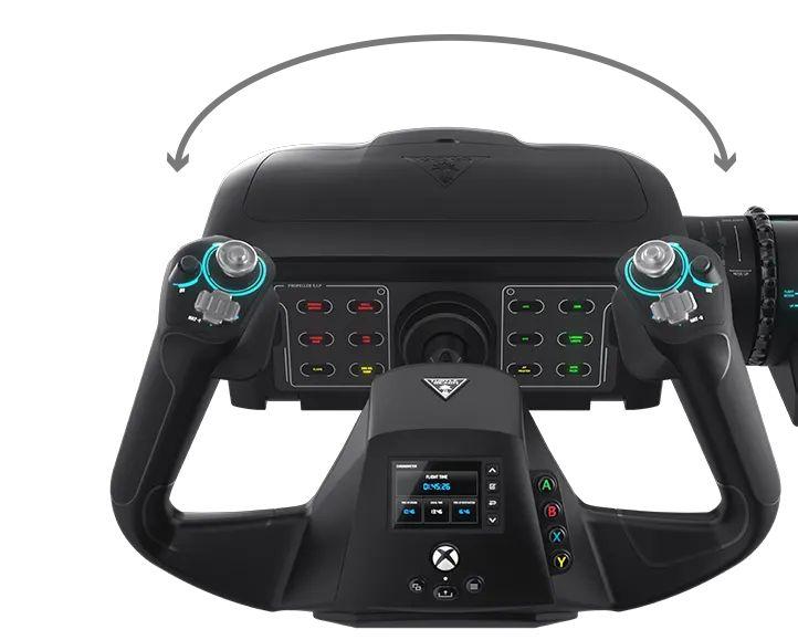 控制杆可作 180 度扭動,上面設有 Xbox 按鍵和全彩屏幕,而台座上就有各種狀態指示燈。