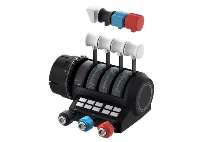 可更換手柄頭的雙節流閥、MIXTURE 、螺旋槳轉速控制和配平輪,同時備有 10 個可編程按鈕。
