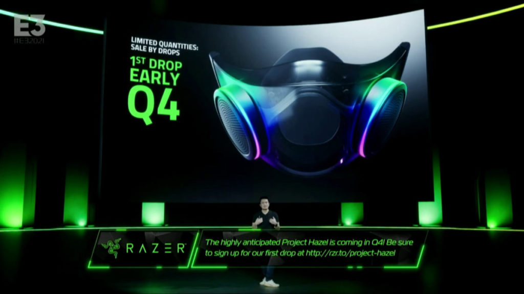 Razer CEO 陳民亮宣布 RGB 口罩「 Project Hazel 」首批今年第 4 季初推出。