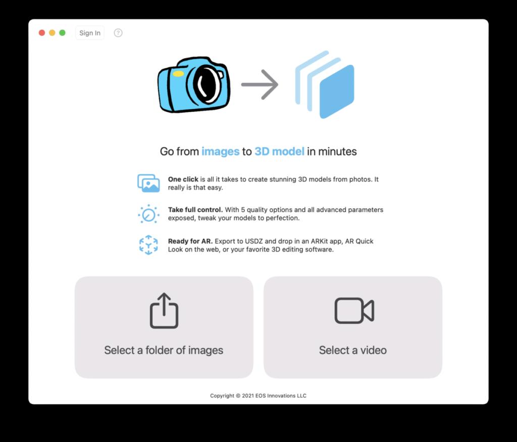可以將照片或影片上的物件轉換為 3D 模型。