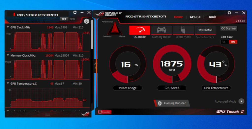 可在《ASUS GPU Tweak II》程式把GPU調校至OC Mode最高的1,875MHz。另外,2.9-slot散熱器表現出色, 即使超頻至1,875MHz GPU,最高溫度僅為67℃。