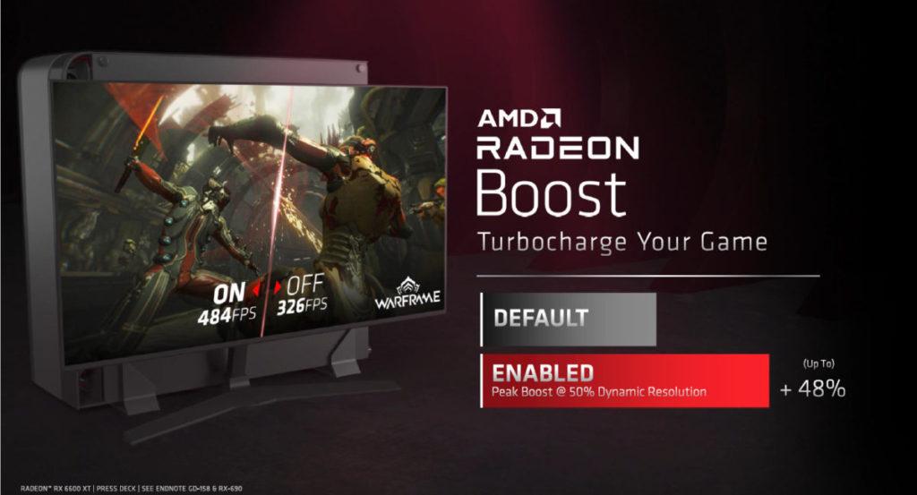 配合 Radeon Boost 的最大 50% 動態解像度功能,最多可帶來 48% 速度提升。