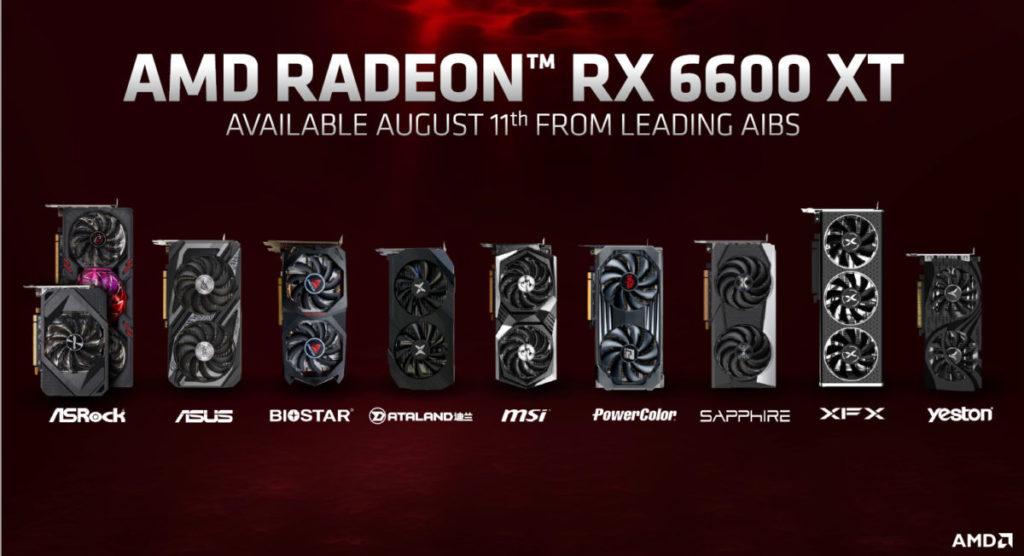 各家 AIB RX 6600 XT 顯示卡同步上市