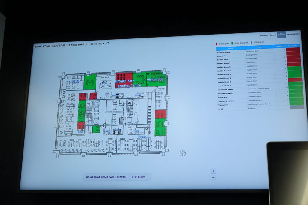 Cisco DNA Spaces 方案通過室內定位,計算空間使用情況,實時顯示。