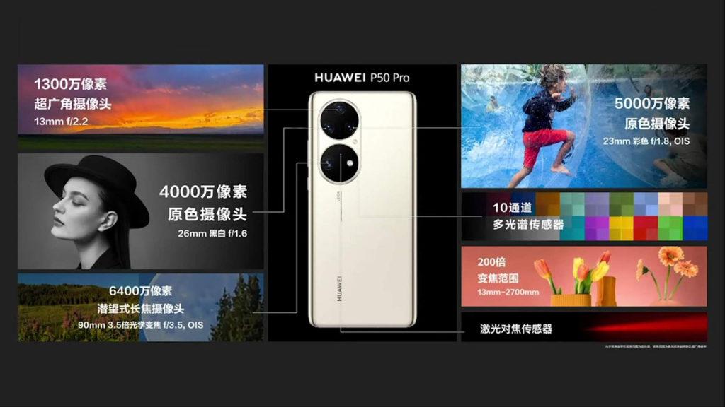 HUAWEI P50 Pro 的超級主攝單元中包括了 50MP 原色 OIS 鏡頭、13MP 超廣角鏡及 40MP 原色黑白鏡頭。超級變焦單元則內置 64MP 、3.5 倍潛望式 OIS 長焦鏡,值得留意是黑白鏡頭回歸,拍攝出來的相片將會更有層次感。