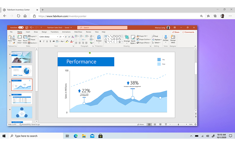 Windows 365 支援 Microsoft 365 、 Microsoft Dynamics 365 、 Microsoft Power Platform 等企業應用。
