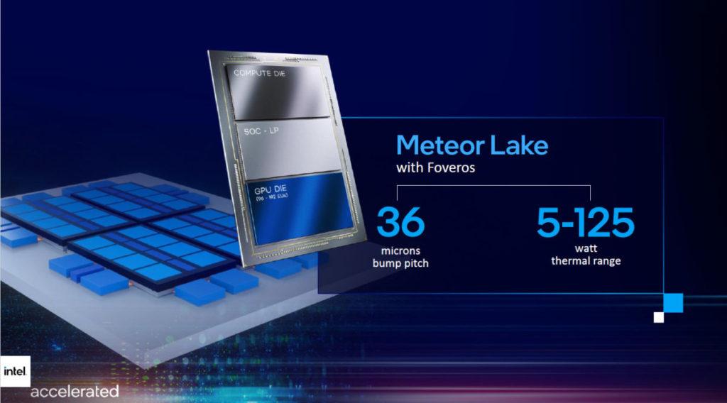 Meteor Lake 將採用 Intel 4 + Foveros 先進封裝技術,在一塊基板上集成 Compute Die 、 SOC-LP 及 GPU Die。