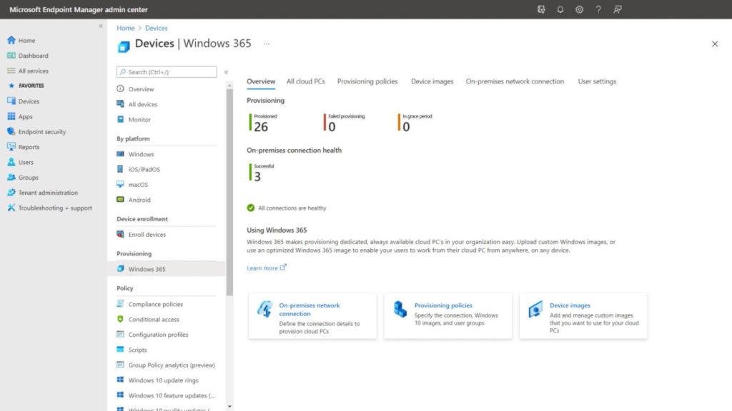 管理員可透過 Microsoft Endpoint Manager 來管理 Windows 365 的部署。