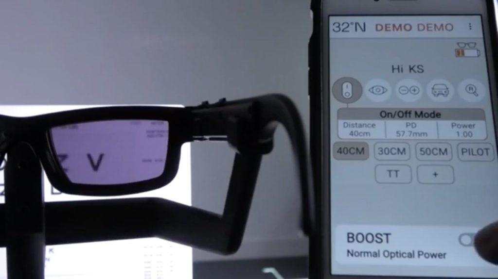 以藍牙連接手機程式後,可以改變焦點距離和放大倍率,這些設定會儲存在眼鏡上。