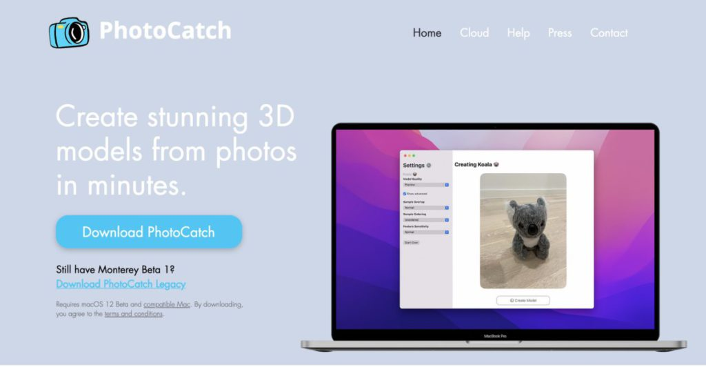 《 PhotoCatch 》是首款採用 macOS Monterey 新開放的 Object Capture API 的軟件,現正進行免費測試。