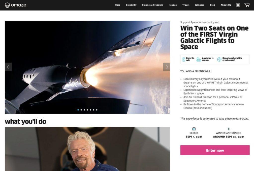 Virgin Galactic 與名人慈善網站 OMAZE 合作為 Space for Humanity 籌款,送出兩張太空飛機機票。