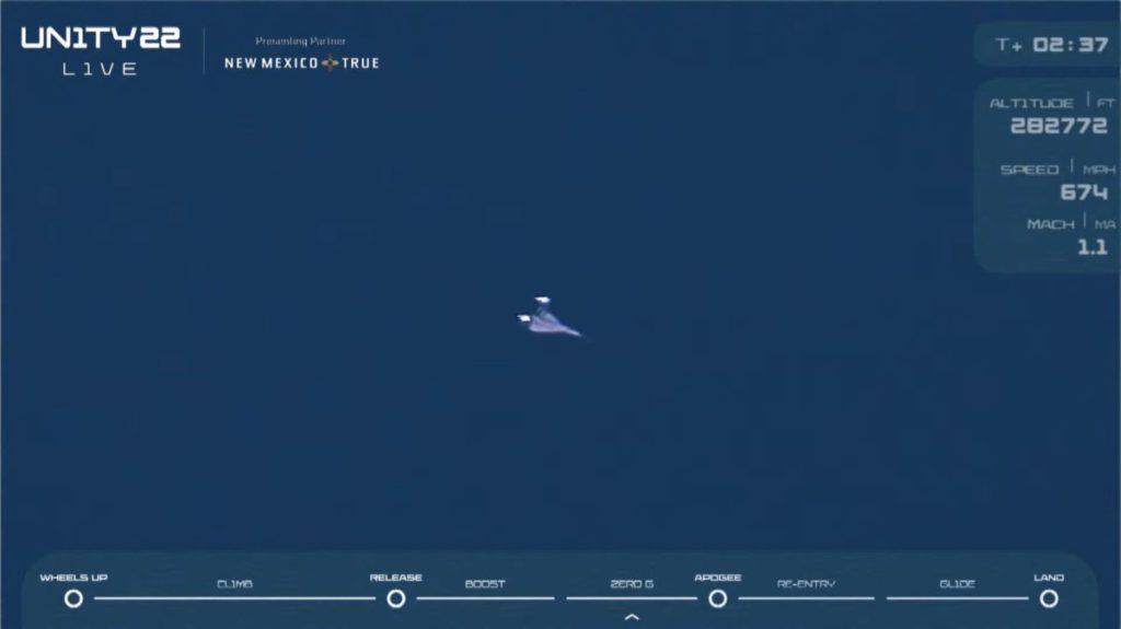 VSS Unity 在脫離母機後約 2 分 30 秒即以 Mach 3 速度登上 28 萬 2 千呎的太空邊緣。