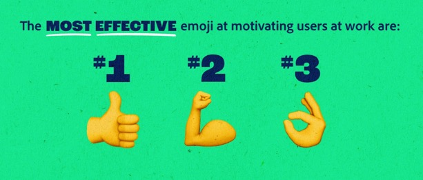 3 款在工作上最能激勵人心的表情符號,依次是讚、加油和 OK 。