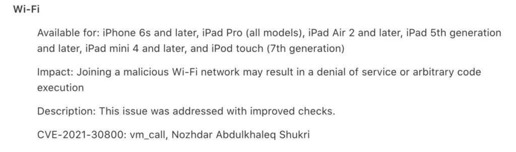修補了 iPhone 登入惡意 Wi-Fi 網絡會導致 Wi-Fi 永久失效的問題。