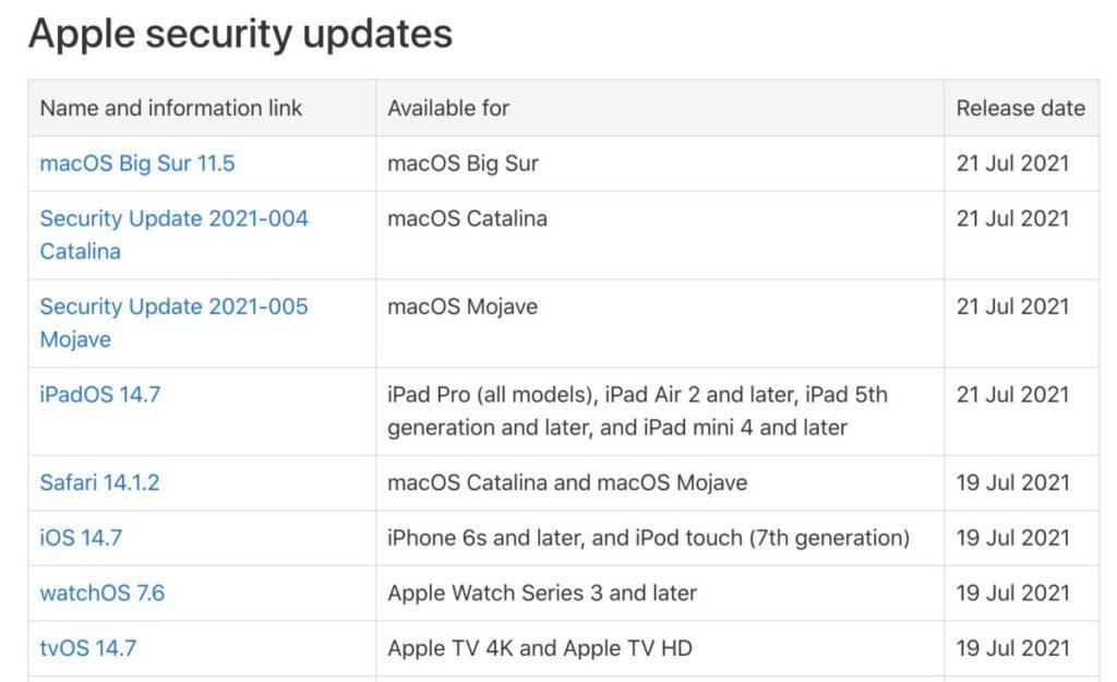 Apple 正式公布 iOS/iPadOS 14.7 等多款 OS 更新的保安更新細節。