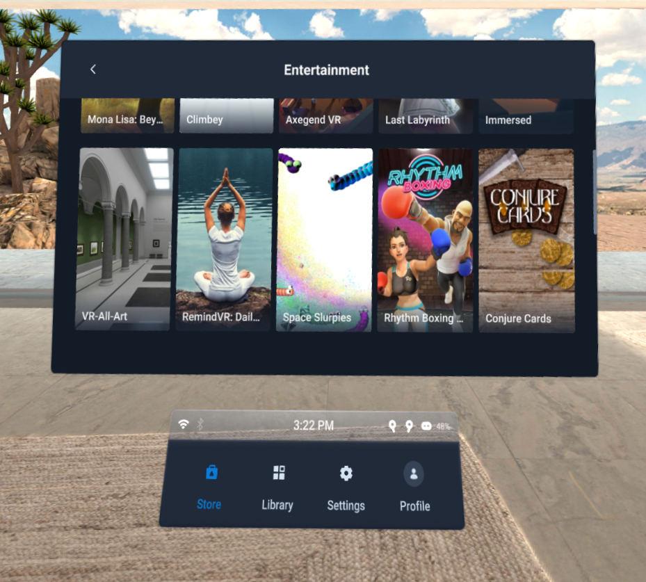 雖然 Vive Focus 3 以商業應用為主,不過一樣提供輕鬆的娛樂,甚至同樣可以登入 VIVEPORT 和 SteamVR 。