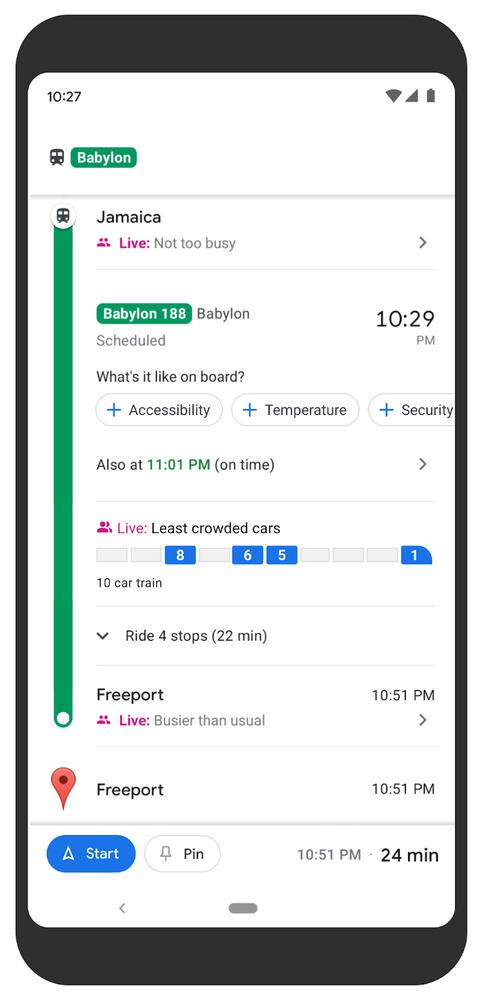 Google 與美國紐約和澳洲悉尼交通機構合作,讓用戶透過 Google Maps 實時查看精細至列車每一卡的擠踴程度。