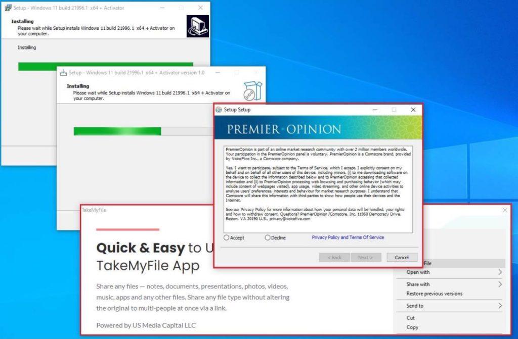 同意偽冒軟件的許可證的話,就會下載各種各樣惡意軟件到電腦。