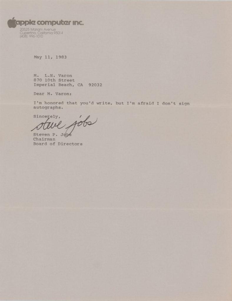 信中雖然說他不會給發信人親筆簽名,但卻為信件簽署。