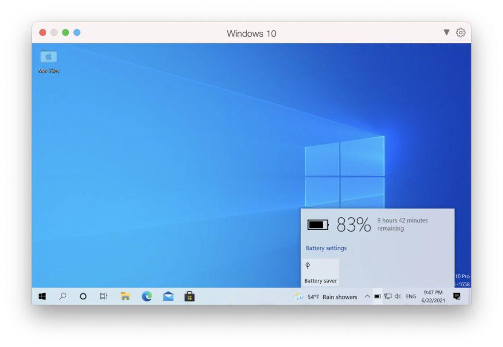 VM 裡的 Windows 10 可以知道電腦的電池電量,並自動進入省電模式。