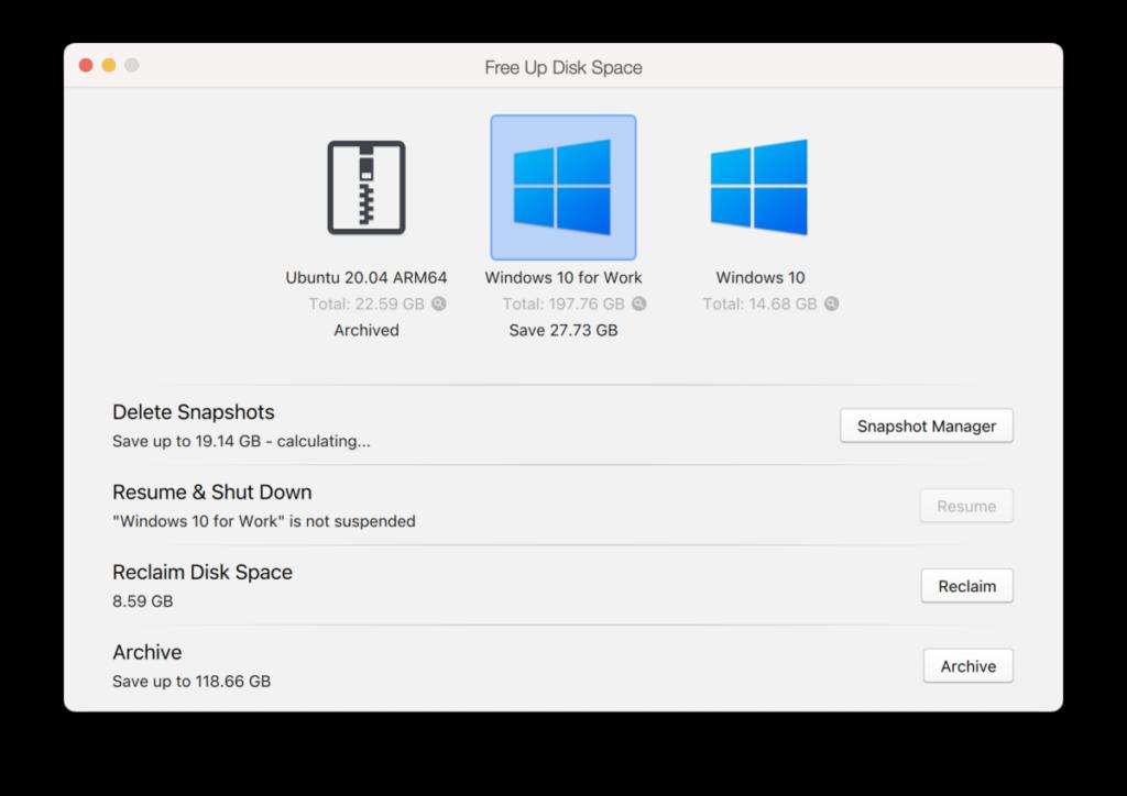 這個版本讓用戶可以查看每個 Snapshot 所佔容量,以便釋放電腦空間。