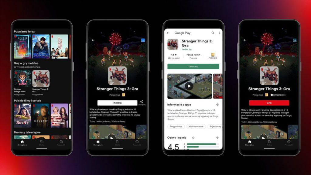 Netflix 遊戲透過 Google Play 來安裝,在 Netflix 程式裡啟動遊玩。