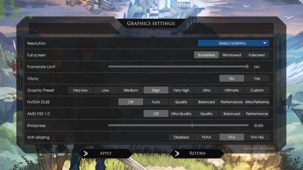 在《 Edge of Eternity》的設定中可見有 AMD FSR 及 NVIDIA DLSS 的優化選項