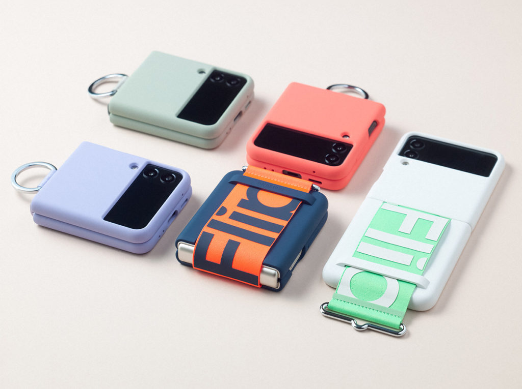 廠方更會推出不同的配件供 Galaxy Z Flip3 用戶選購,如這款可使手機裝上掛繩的機殼,而且顏色搶眼。