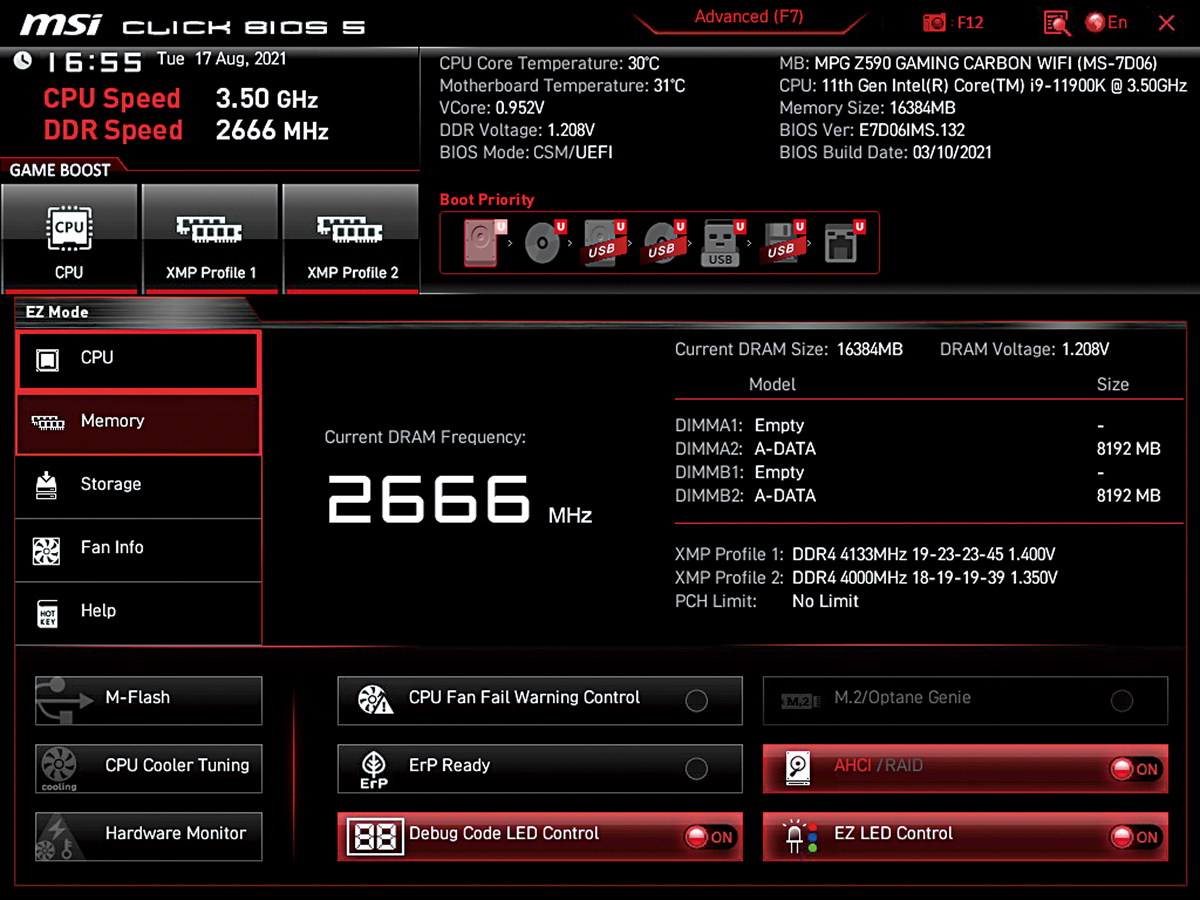 Click BIOS 簡化版可輕鬆完成大部分設定,不必按「F7」進入進階版頁面。