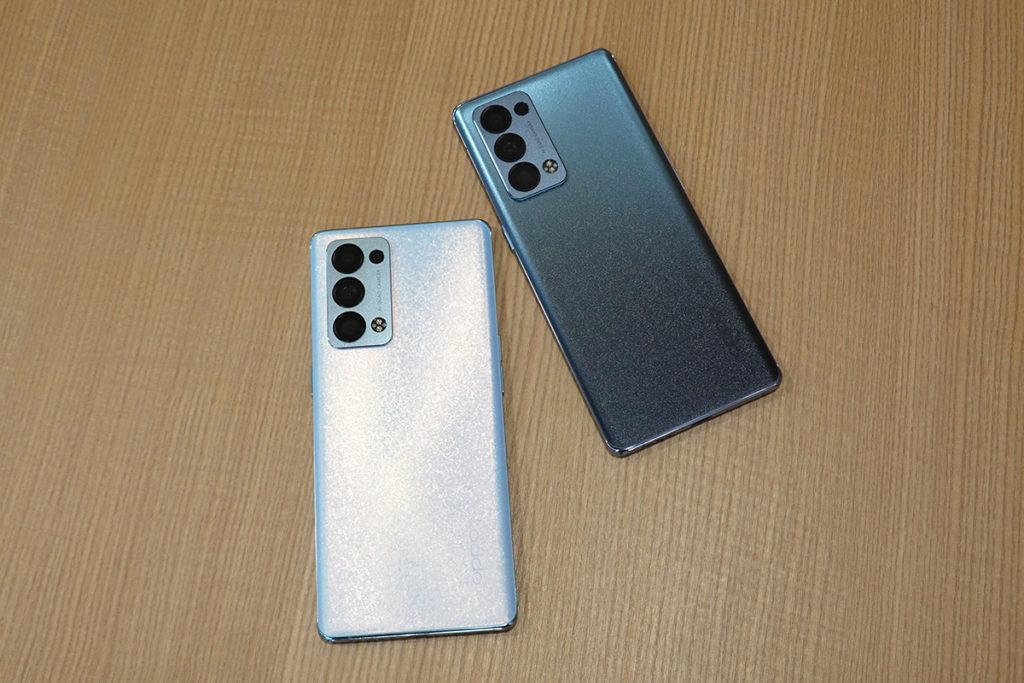 OPPO Reno6 Pro 極光藍及暮光灰兩種顏色在Reno Glow晶鑽工藝下,機身效果較上代更吸晴。