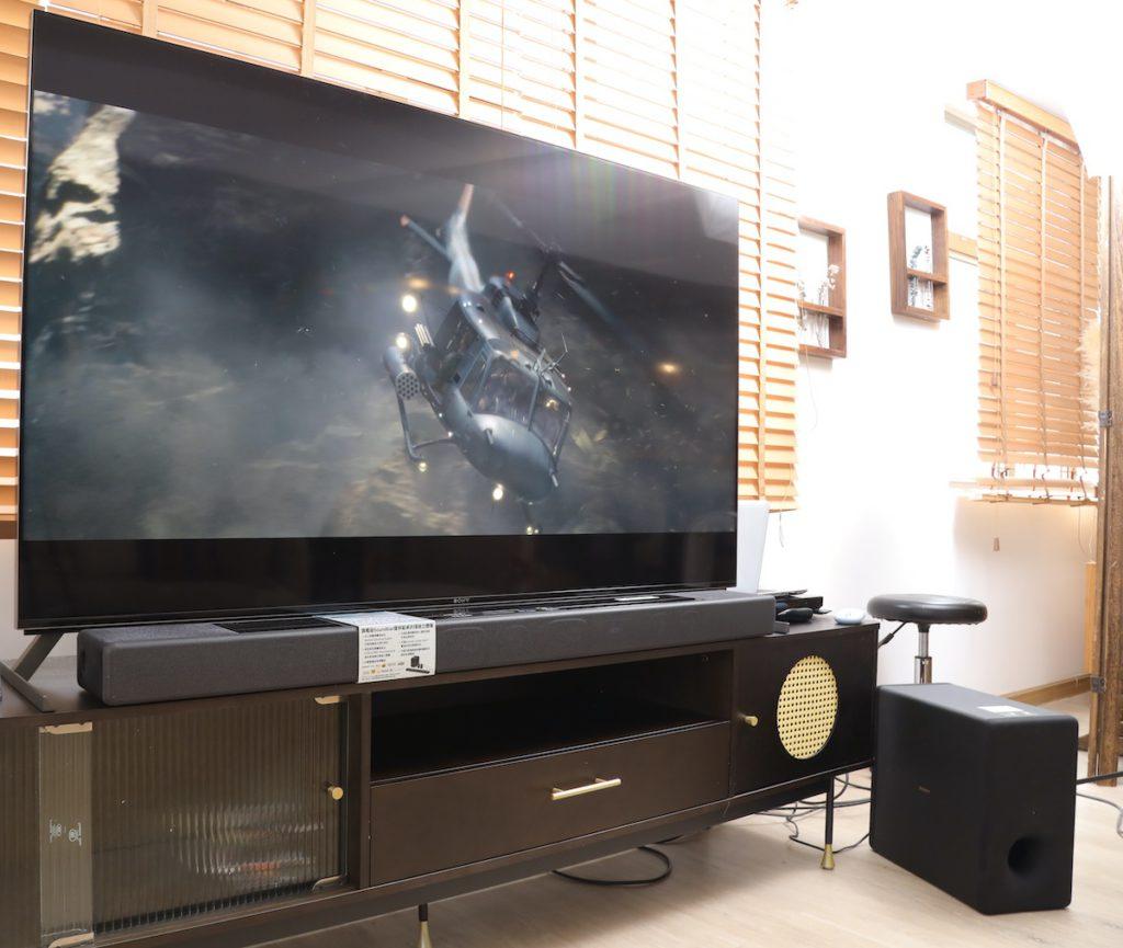 HT-A7000 的身型頗大,最好配搭 65 以上電視使用,否則有機會比電視更大。