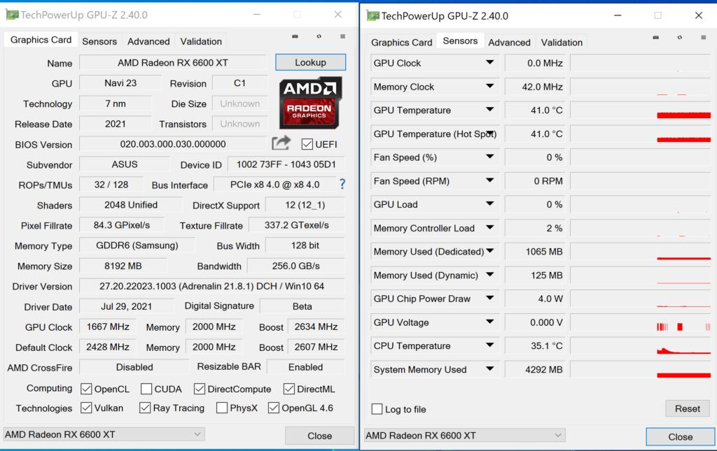 《 GPU-Z 》顯示 RX 6600 XT 工作介面為 PCI-E 4.0 x8