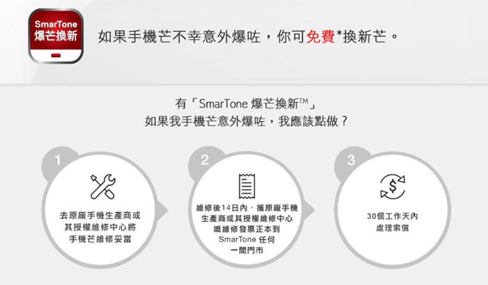 送價值 $350 的 12 個月升級版雙面保護「SmarTone 爆芒換新」服務,意外跌爆屏幕都唔怕。