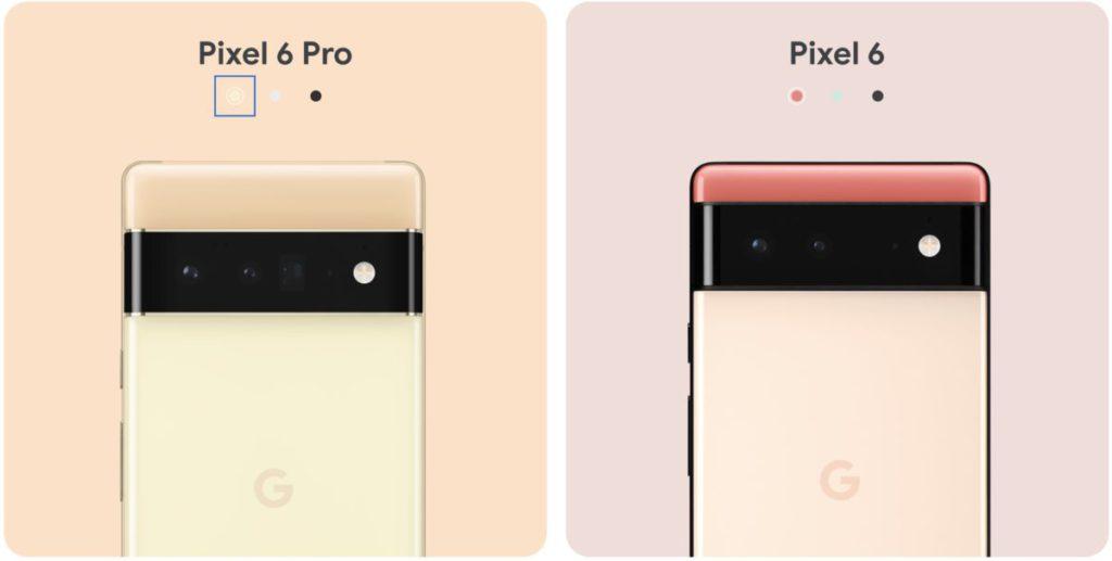 Pixel 6 與 6 Pro 各有三種配色選擇。