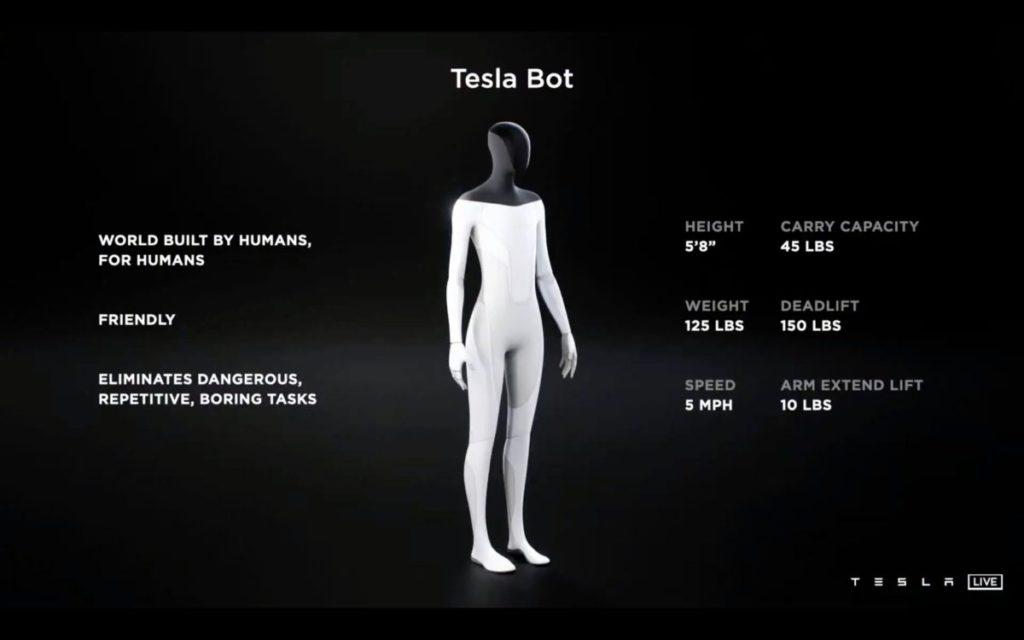 Tesla Bot 身高 172.72 公分,體重 56.7 公斤,可攜帶 20 公斤物件以時速 8.05 公里步行。