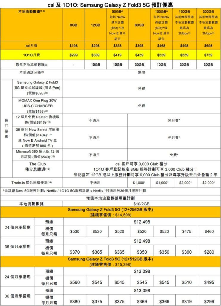 csl 及 1O1O: Samsung Galaxy Z Fold3 5G 預訂優惠