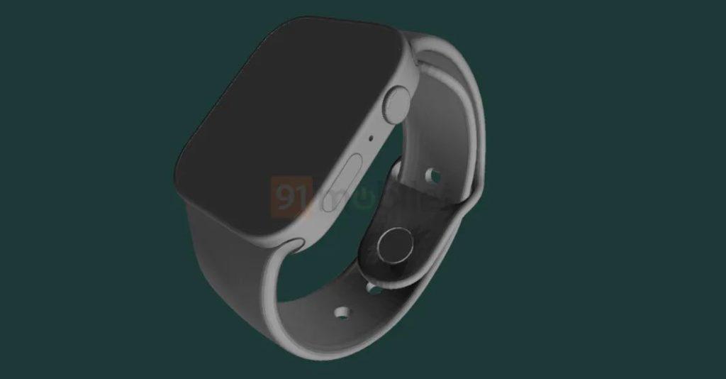 Apple Watch Series 7 渲染圖 1 (來源: 91mobiles )