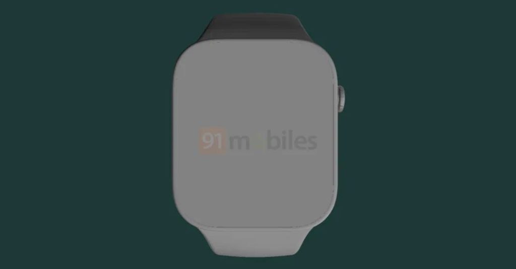 Apple Watch Series 7 渲染圖 2 (來源: 91mobiles )
