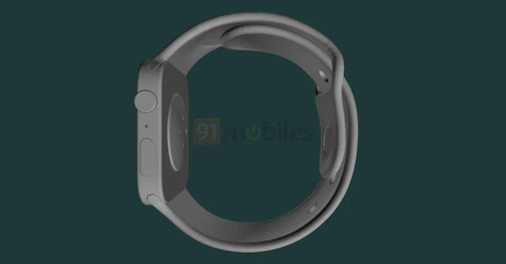 Apple Watch Series 7 渲染圖 5 (來源: 91mobiles )