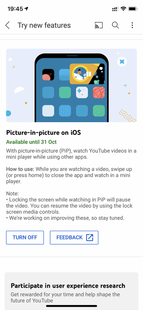 YouTube 於「 Try new features 」功能中釋出支援子母畫面的選項。