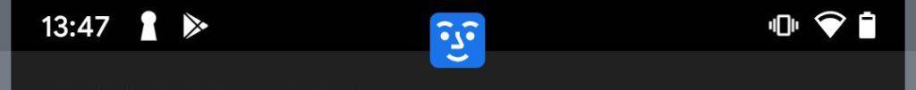 完成設定後,屏幕上方正中會出現藍色的表情小圖示,告知用戶相機開關正在動作。