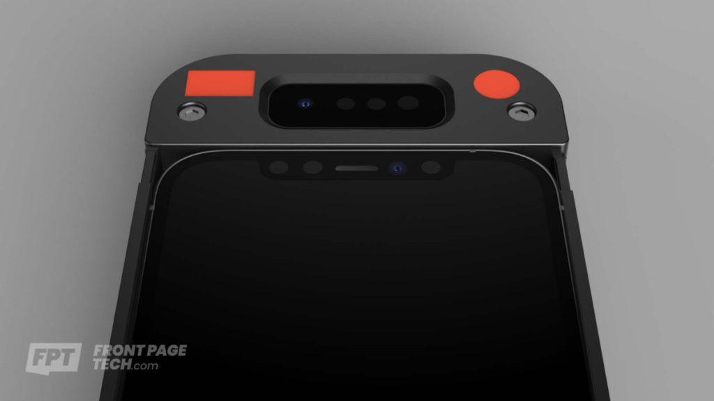 新 Face ID 鏡頭模組原型以手機殼方式嵌在 iPhone 12 上進行測試。(來源:FrontPageTech.com )