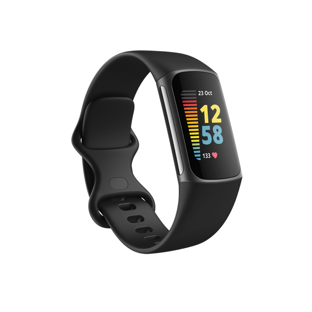 Fitbit Charge 5 圓滑精緻的外型,使用 1.04 吋彩色觸控 AMOLED 屏幕,較以往的智能手環有更清晰亮麗的顯示效果。