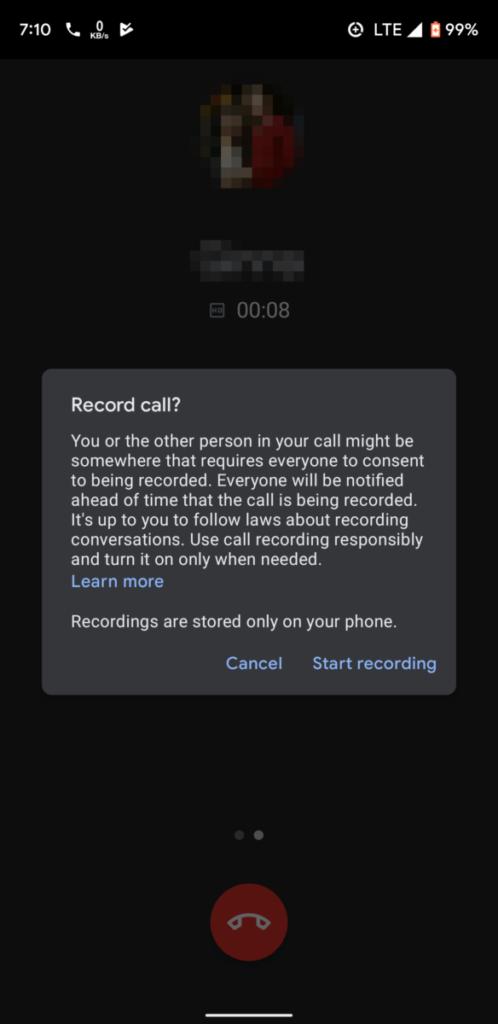 錄音前會有提示,提醒未得對方同意錄音可能會犯法。