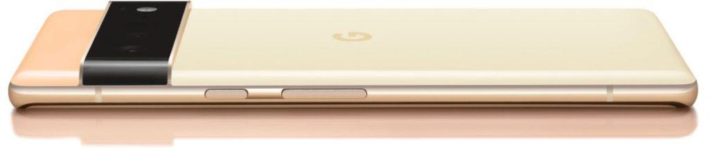 Pixel 6 系列手機由於感光元件和鏡頭加大,而採用突起的鏡頭條。