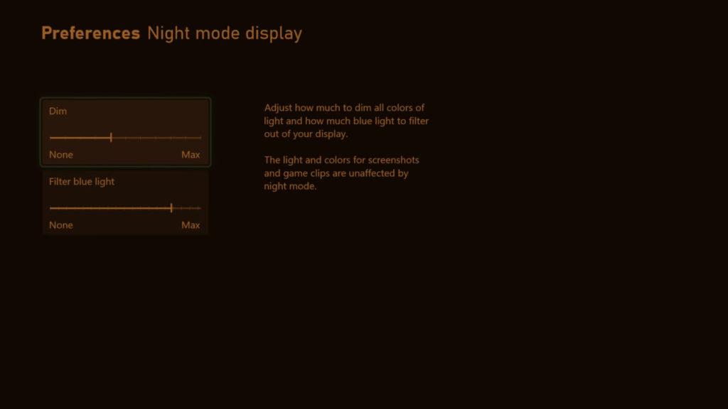 夜間模式會將遊戲畫面調暗,並過濾藍光。用戶可以調節強度。