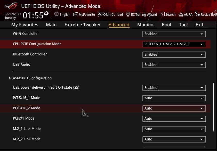若果要使用主機板上的M.2_2及M.2_3 Socket,而在BIOS的「CPU PCIE Configuration Mode」改為「PCIEX16_1 + M.2_2 + M.2_3」。