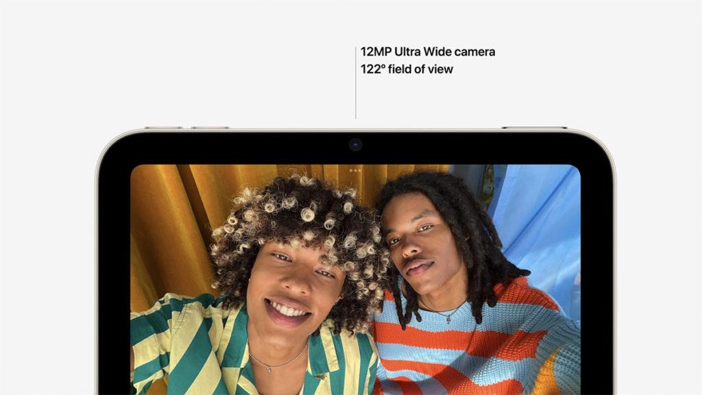 機背面則內建 12MP 超廣角鏡頭,並支援Center Stage 功能,令用戶利用新iPad Mini 進行視像會議時,可以保持於畫面中央。