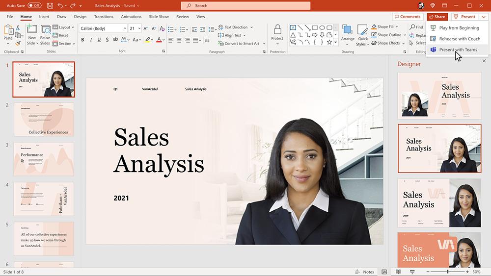 Cameo 將 Teams 鏡頭放置在 PowerPoint 幻燈片之上,令演示者與演示內容結合,提高感染力。