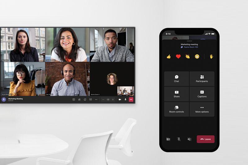 Teams 手機版的同伴模式方便身在外面的職員也能方便地與其他與會者互動。